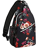 MOSISO Sling Backpack,Travel Hiking Daypack Pattern Rope Crossbody Shoulder Bag, Cottonrose