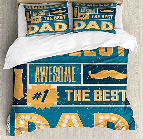 Alandar Home Bedding Sets Duvet Cover 3 Pieces, Dad Ultra Soft Bed Quilt Set with 2 Pillowcases for Kids/Teens/Women/Men Bedroom Best Coolest and Dad Message Mustache and a Necktie