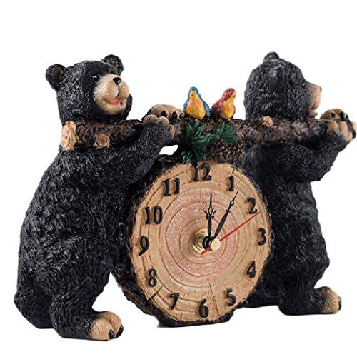 Petite Horloge Chevet Table Horloge Mode Enfant Créativité Style Européen Horloge Salon Chambre Silent Bureau Ornements UOMUN (Color : Black)