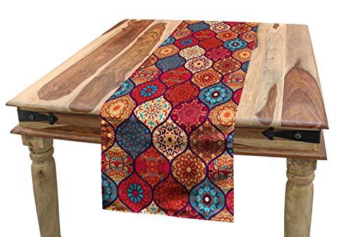 ABAKUHAUS marroquí Camino de Mesa, Oriental Ondulado Natural, Decorativo para el Comedor o Sala de Estar Fácil de Limpiar, 40 x 180 cm, Multicolor