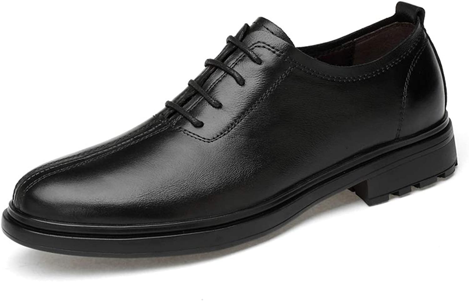 Hy-w Men's shoes, Low-top Casual Slip On shoes,British Business Breathable Leather shoes, New Spring fall Men Trend Leather shoes (color   Black, Size   46)