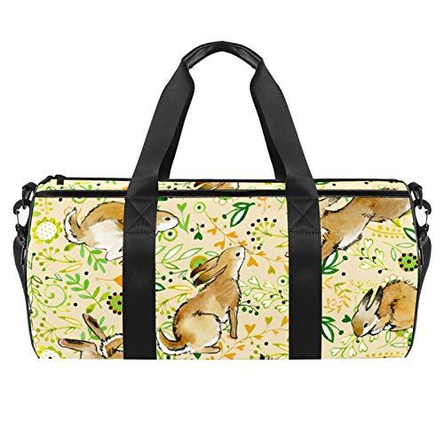 Xingruyun Sport Duffel Bag Bunny Rabbit Leaf Gym Bag Kids Swimming Bag Weekend Bag Travel Bag Overnight Bag For Boys Girls With Shoulder Strap 45x23x23cm