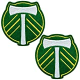 2-Pack Portland Timber Football Club Logo Iron On Sew On Embroidered Patch for Jackets Backpacks Jeans and Clothes Badge Applique Emblem Sign Sports Motif Decal