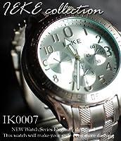 【ケース付♪】シルバーメタル デザインクロノグラフウォッチ◇-IEKE-メンズ腕時計 IK-0007 (文字盤:ホワイト)