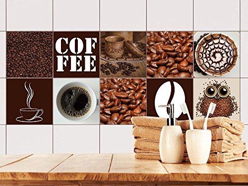 GRAZDesign Fliesenaufkleber Kaffee Küche, Wand-Fliesen Aufkleber, Selbstklebende Folie, Wieder ablösbar - für rechteckige Fliesen (10x10cm // Set 10 Stück)