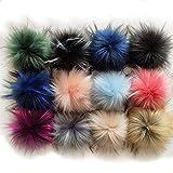 12 pcs pompones de piel sintética de colores, bola de piel de mapache imitación zorro para sombreros de punto desmontables llaveros bolsos bufandas y zapatos accesorio(12 colores brillantes, 10 cm)