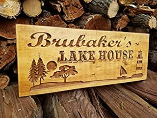 Iliogine Wooden Plaque Sign Outdoor Family Name Sign Personalized Lake House Lighthouse Graghic House Address Vacation Home Farmhouse Wall Decor Housewarming Gift