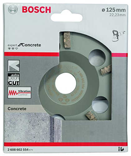 Bosch Professional 2608602554 Expert for Concrete Extra-Clean Diamond Grinding Head 125 x 22.23 x 4.5 mm, Grey