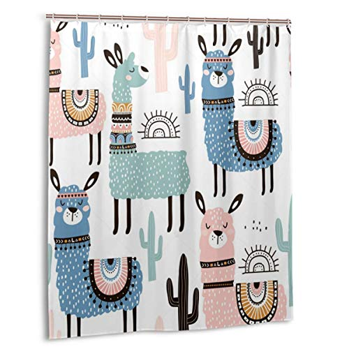 Ufiner Catherine Lansfield Cactus Shower Curtains Liner Machine Washable Bath Curtains with 12 Hooks Decorative Bathroom Curtains for Hotel Spa 60x72 Inch
