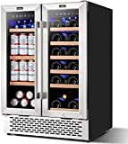 Colzer 24 inch Wine and Beverage Refrigerator Dual Zone Wine Cooler Under Counter Lockable 18 Bottles and 57 Cans Beverage Fridge Center Built in Freestanding with Glass Door for Beer Soda Drink Bar Kitchen Cabinet Commercial