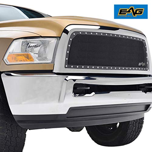 EAG Steel Mesh Rivet Replacement Grille ABS Shell Fit for 2013-2018 Dodge Ram 2500/3500