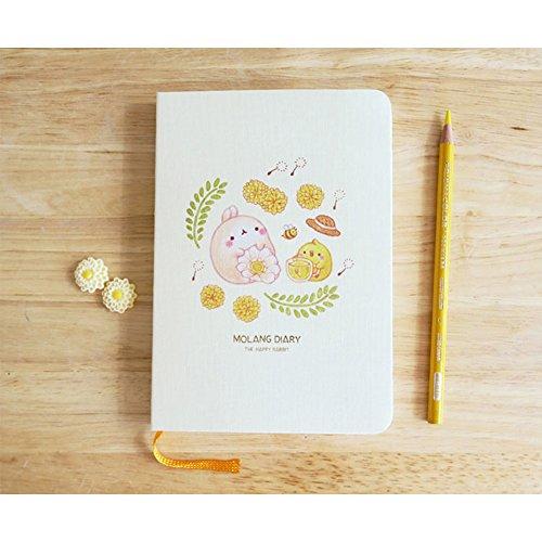 "Molang Diary Ver.4 Honey Blossom (2017~2018 Claendar) Kawaii Cute Rabbit Undated Planner Journal Scheduler Organizer Agenda 4.5"" x 6.5"" (115 x 165 mm) - Authentic Korea item (Honey Blossom)"