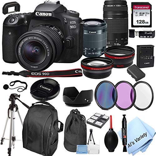 Canon EOS 90D DSLR Camera + 18-55mm f/3.5-5.6 is STM Lens + 75-300mm F/4-5.6 III Lens + 128GB Card, Tripod,Back-Pack,Filters, 2X Telephoto Lens, HD Wide Angle Lens, Hood, Lens Pouch, More (28pcs)