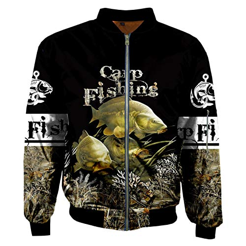 Otoño Invierno Chaquetas de Bombardero para Hombre Novedad Animal Carpa Pesca Impreso 3D Zip Chándales Abrigo Chaqueta con Cremallera Unisex,s,1,'en Bomber Jacket L