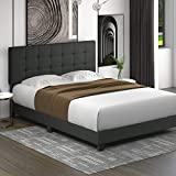 Allewie Full Size Platform Bed Frame with Adjustable High Headboard/Fabric Upholstered/Square Stitched Style/Box Spring Needed/for High Profile/Easy Assembly, Grey