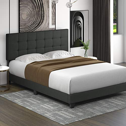 Allewie Queen Size Platform Bed Frame with High Headboard/Fabric Upholstered/Square Stitched Style/Box Spring Needed/for High Profile/Easy Assembly, Grey