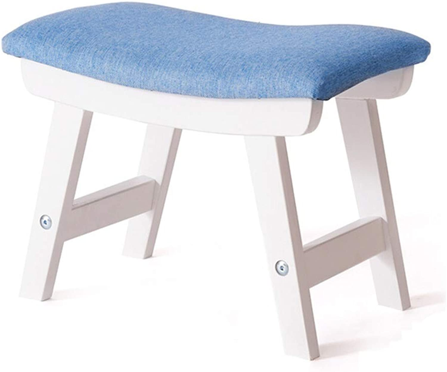 Small Stool-Simple Curved Solid Wood Stool Bench Casual Stool shoes Bench Sofa Bench FENPING (color   bluee, Size   38  24  29cm)