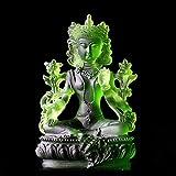 Estatua de Buda Tara de Vidrio Verde,Escultura Devota Solemnemente,Adorno de Decoración del Hogar de Lujo,12cm*7.5cm*6.5cm