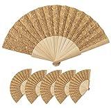 Lote 25 Abanicos de madera natural y tela corcho natural, Abanico 16 varillas servidos en caja individual, Abanicos para pintar, personalizar, detalle (Corcho)