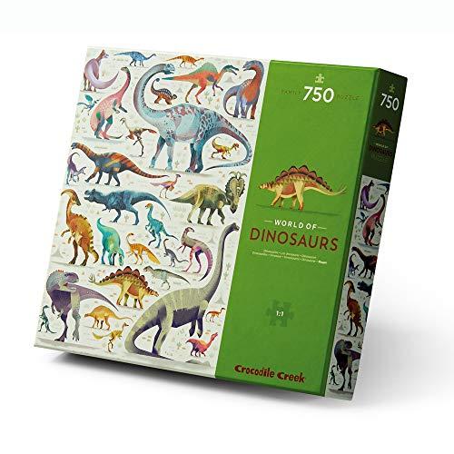 Crocodile Creek - World of Dinosaurs - Rompecabezas de 750 piezas - para todas las edades de 4 años en adelante - Caja resistente para almacenamiento - Puzzle acabado de 45,7 x 60,9 cm
