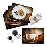 Juego de 6 manteles individuales de corcho, 30 x 40 cm, en la mesa, diseño fino, muchos diseños y diseños (café y canela)