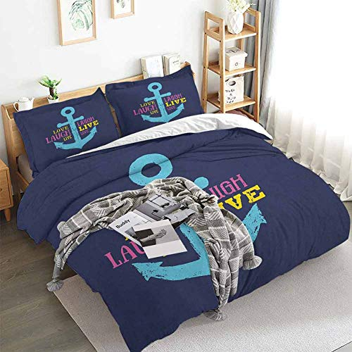 Aishare Store Live Laugh Love Duvet Cover Set,Memphis Style Nautical Inspirations with Hand Drawn Anchor and Cute Quote,Decorative 3 Piece Bedding Set with 2 Pillow Shams,Queen(90'x90') Multicolor