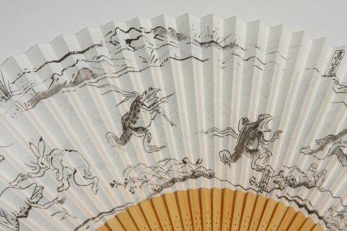 ≪紳士用扇子≫「鳥獣戯画」京都職人仕立て扇子袋付き紙箱入り