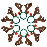 Lurrose 6pcs diademas de navidad cuernos de reno aros de pelo orejas de reno diademas festival tocado banda para el cabello para adultos niños niños