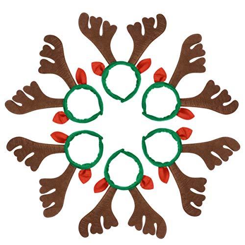 Lurrose 6pcs diademas de navidad cuernos de reno aros de pelo orejas de reno diademas festival tocado banda para el...