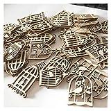 SMchwbc 50pcs Ornamentos de Madera Colgante de la Jaula de pájaros for la decoración casera Blanks la decoración del Arte