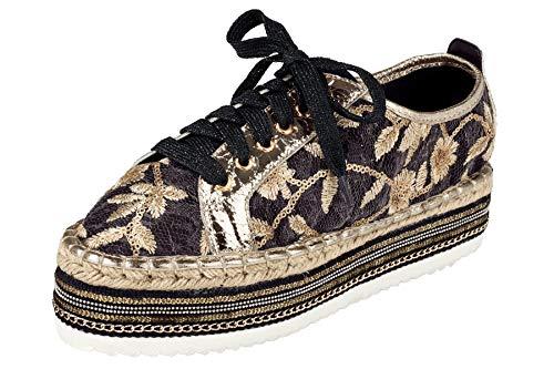 xyxyx Plateau Schnür-Schuhe ausgefallene Damen Schuhe mit Bouclé-Effekt Halbschuhe Sneaker Schwarz, Größenauswahl:39