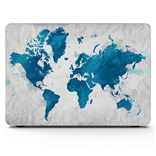 Mac Book Pro Cases Printed Cartoon World Map Decor Icon Mac Book Pro Cover Hard Shell Mac Air 11'/13' Pro 13'/15'/16' with Notebook Sleeve Bag for MacBook 2008-2020 Version