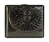 Sellmando Zigarettenetui Metall Kompass Antik mit Bügel für 18 Zigaretten (Anthrazit)