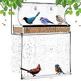 Janny-shop Comedero para Pájaros con 3 Ventosas Comedero Transparente para Pájaros de Acrílico Comederos para Colibríes Jaula para Pájaros