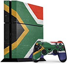 Skinit Decal Gaming Skin for PS4 Console and Controller Bundle - Originally Designed South Africa Flag Distressed Design