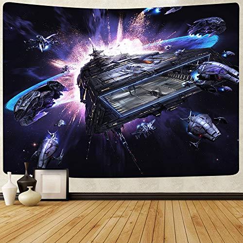 Wonner Simsant Star Sky Wars Tapestry Space Airship Galaxy Art Wall Colgando Tapices Para La Sala De Estar Dormitorio Dormir Dormitorio Manta Decoración 59x90inch Polyester