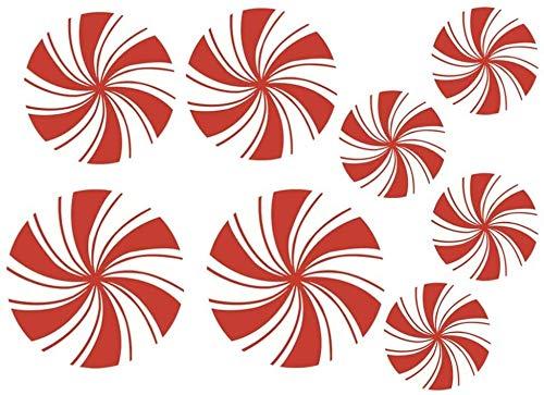 XIAOGINGV 8PCS Natale Peppermint Piano Decalcomanie for Le Vacanze Decalcomania della Finestra Muro Si aggrappa Sticker for i rifornimenti della Decorazione della Festa di Natale