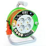 KEL -ELECTRIC - Tambor de cable para jardín con 20 m de PVC - Cable 3 x 1,5 mm², 230 V/16 A - Cable alargador de plástico con 4 enchufes de protección IP20