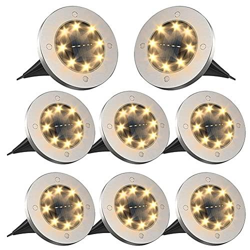Ulixii Solarleuchten/Solarlampen für Außen 8 LEDs,Solar Bodenleuchten Aussen,IP65 Wasserdicht Solar Gartenleuchten,Rasen,Patio und Hof,(8 Stück Warmweiß)