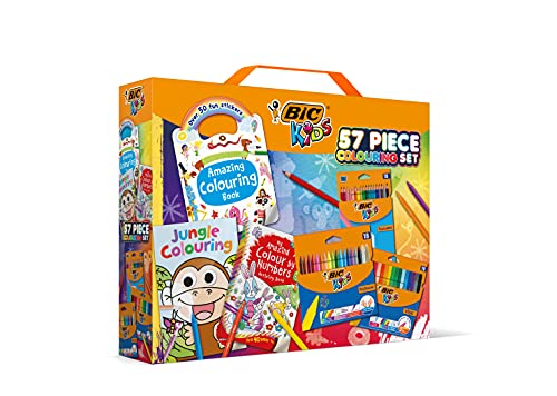 BIC Paquete de actividades para niños de 57 piezas con rotuladores de fieltro, lápices, lápices de colores y 3 libros para colorear