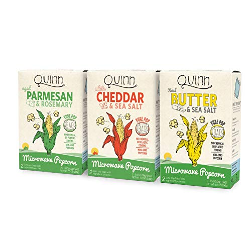 Buy Discount Quinn Snacks Microwave Popcorn Variety Pack (Butter & Sea Salt, White Cheddar, and Parm...