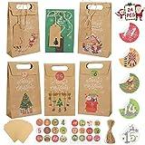 Scatole regalo natalizie premium: i sacchetti di carta per feste di Natale sono realizzati in carta Kraft premium senza alcun odore, riciclabile, riutilizzabile e biodegradabile, sicuro e pratico. Ogni parte della borsa è robusta, ben realizzata con ...