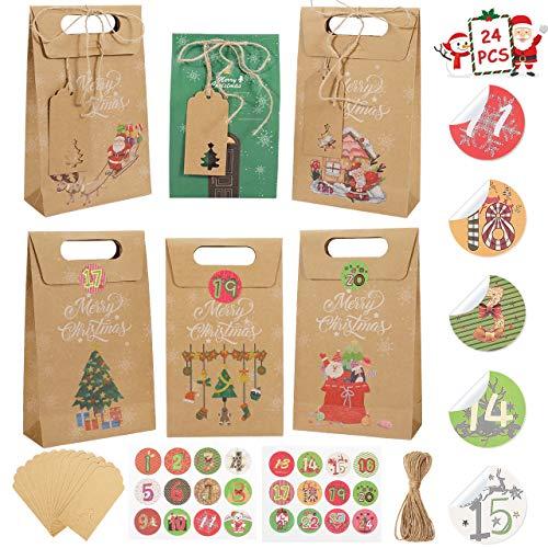 Gafild Cajas de Regalo Navidad, 24pcs 6 Estilos Bolsa de regalo para Calendario de Adviento papel Kraft para fiesta Dulces Galletas Chocolates Decoración de Regalos 22x13x6cm