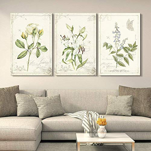 wall26 3 Panel Canvas Wall Art - Vintage Style Plants and Flowers - Giclee Print Gallery Wrap Modern Home Art Ready to Hang - 16'x24' x 3 Panels