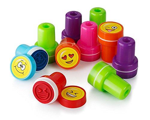 Moore Kunst 26 Stück selbst Farbauftrag Emoji Kunststoff Stempeln mit Multi Color Bright Smiley Emoji Tinte Briefmarken, DIY Handwerk für Kinder, Party Geschenke