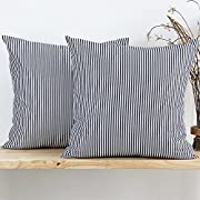 JOJUSIS Striped Throw Pillow Covers Soft Solid Farmhouse Classic Decorative Cushion Pillowcases for Sofa Bedroom Car 20 x 20 Inch Black Pack of 2