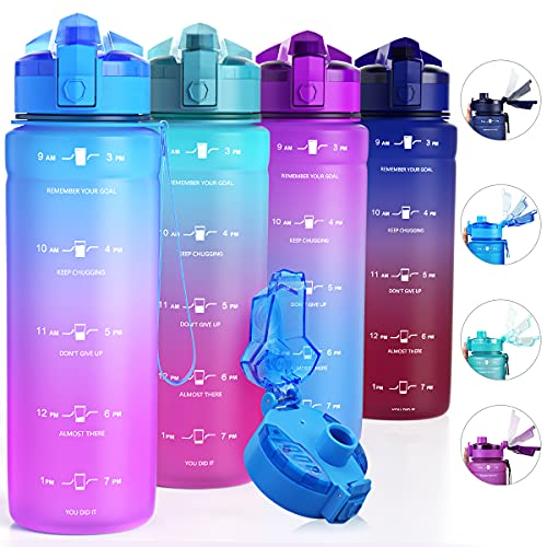 ZOUNICH Tritan BPA Free Water Bottle with Time Marker - 32oz/24oz/17oz Leakproof Motivational Sports Water Bottles to Ensure You Drink Enough Water Throughout The Day for Fitness and Outdoor Activity