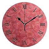 Reloj de Pared Triángulo Fondo Abstracto Sandía Rojo Redondo Acrílico Reloj Negro Números Grandes Silencioso Sin tictac Reloj Pintura Decorativa Reloj con Pilas para e School Hotel Li