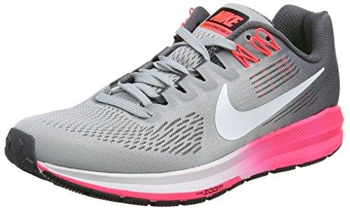 Nike Women's Air Zoom Structure 21 Running Shoe Dark Grey/White-Wolf Grey-HOT Punch 6.0