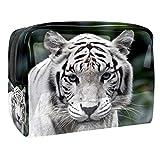 Kit de Maquillaje Neceser Tigre Blanco Animal Make Up Bolso de Cosméticos Portable Organizador Maletín para Maquillaje Maleta de Makeup Profesional 18.5x7.5x13cm